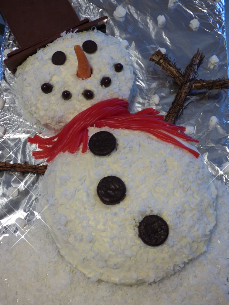 Made another snowman cake for Christmas this year. I added coconut ...