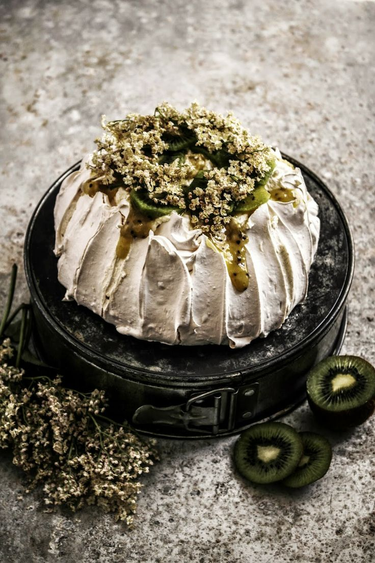 Pavlova with Kiwi Lime Curd and Elderflower Cream Recipe by Twigg ...