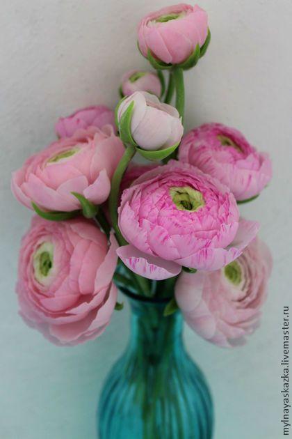 Ранункулюс из полимерной глины - розовый,ранункулюс,ранункулюсы,цветы из полимерной глины Clay&Sugar flowers Pinterest