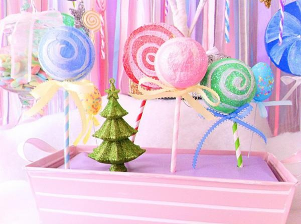 Stripey straws and Xmas balls made into cute candy land decor