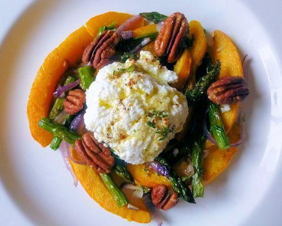 Roasted Pumpkin, Asparagus & Ricotta Salad