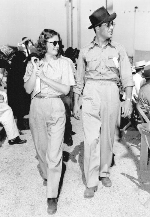 Barbara Stanwyck and Robert Taylor at the races c.1938