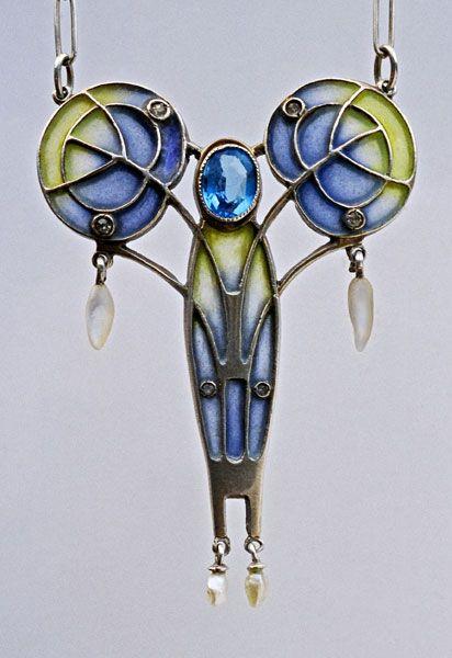 Pendant |  Jugendstil. Silver Plique-à-jour enamel Pearl.  German, c.1900