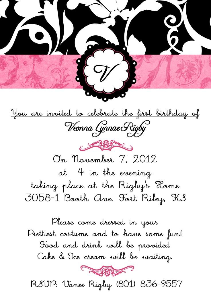 Pink Damask Birthday Invite  Birthday Invites  Pinterest