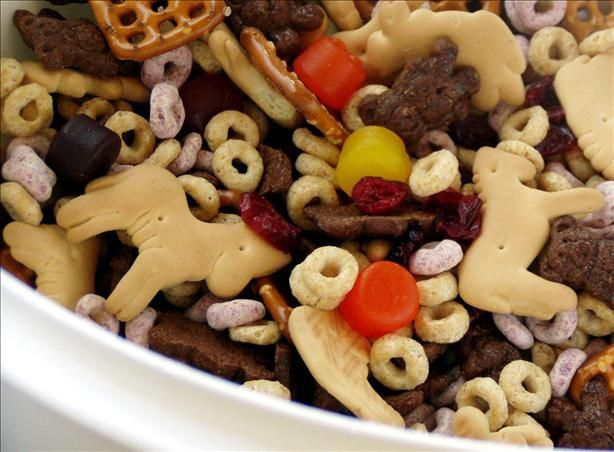 Jungle Gems Snack Mix from Food.com:   Here's one the little tots will go bonkers over. The larger folks will be munching on it too!