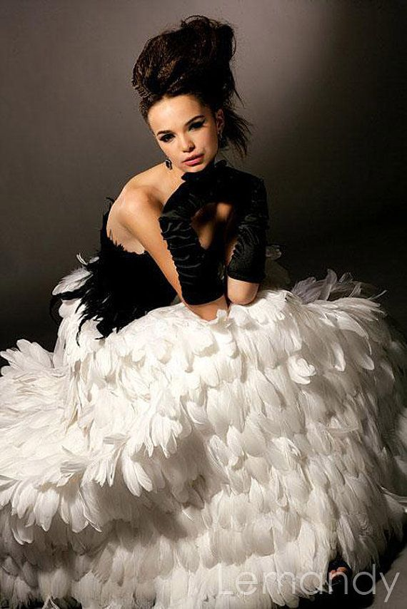 Luxury black and white feathers wedding dress strapless for How to dress up a black dress for a wedding