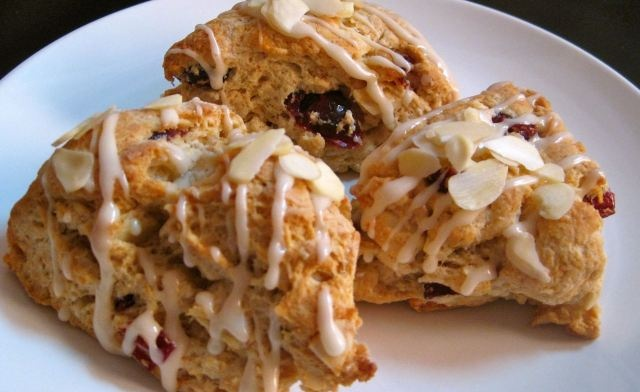 Cranberry Almond Scones With Honey Almond Glaze