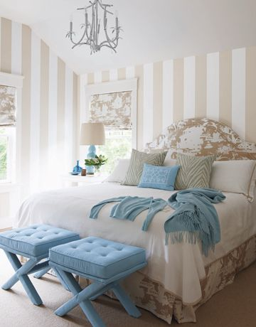 Meg Braff Interiors -- I'm in love w/ this softly-colored striped-wall bedroom w/ accents of pale blue