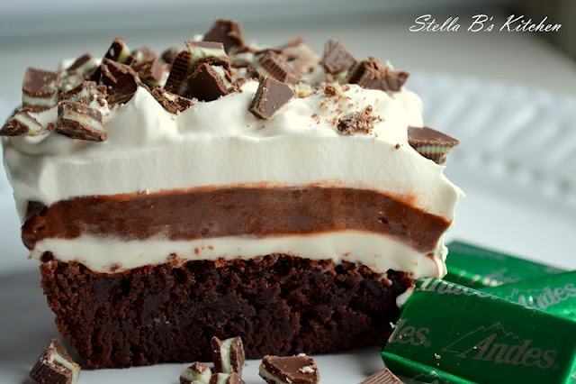 Mint Brownie Delight via ~Stella B's Kitchen - I'm in love - could there be anything better?