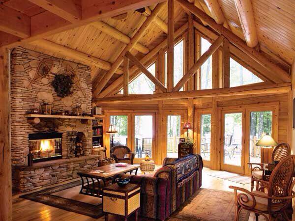 log cabin room log cabin living pinterest