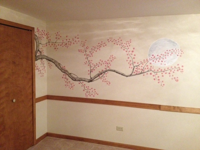 Cherry blossom mural painted on my wall mural paints for Cherry blossom mural