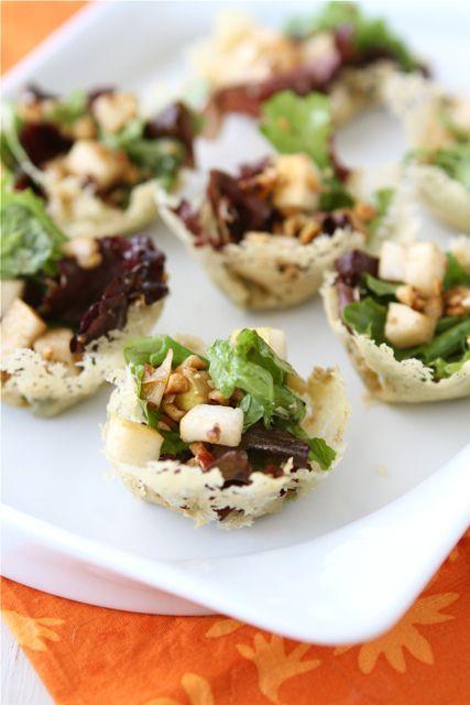 Gorgonzola Cheese Cups with Pear & Hazelnut Green Salad by cookincanuck #Cheese_Cups #Salad #cookincanuck