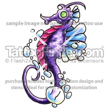 New School Seahorse tattoo design by Edward Lee