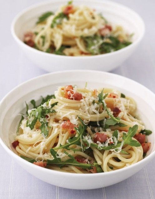 Pasta with Pancetta and Arugula 1 tbsp olive oil 12 oz (350 g) dried ...
