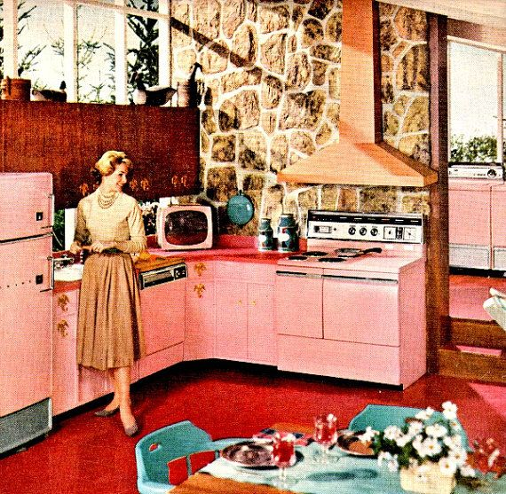 vintage mid century pink kitchen 1953 by FrenchFrouFrou on Etsy, $12