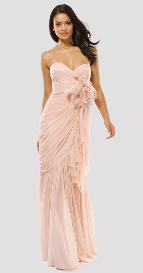 MIGNON 2011 Prom Dresses** Sweet And Romantic Powder Pink Strapless Gathered Floral Gown