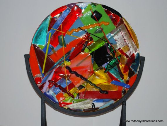 Scrapadelic Multi Color Fused Glass Plate by RedPony50Creations, $175.00