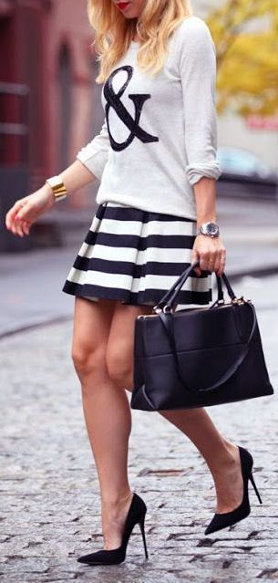 & Printed Tee with Stripes Pleated Skirt and Ladies Pumps