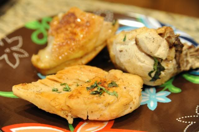 Chicken sauteed with herbs and garlic, egg yolk and butter sauce