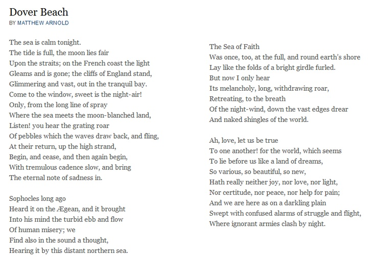 dover beach theme imagery and sound essay In the poem dover beach by matthew arnold he writes that with belief we need hope to survive in this dark world in which we live the speaker in the poem is standing on the cliffs of dover at night over looking the sea.