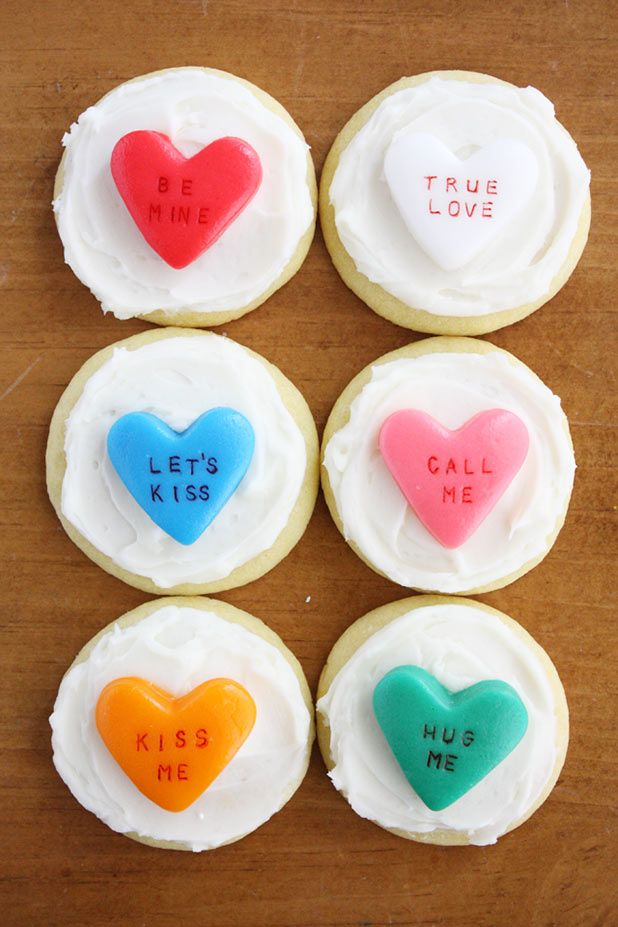 "... You"" and more with conversation heart cookies. #vday #heartandsole"
