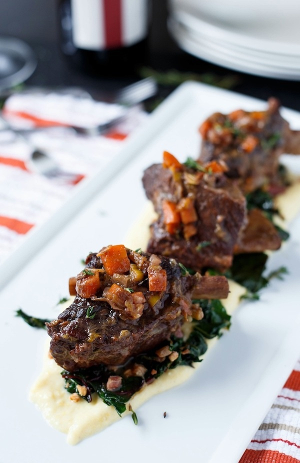 Braised Short Ribs with Swiss Chard and Polenta. A one-pot wonder that ...