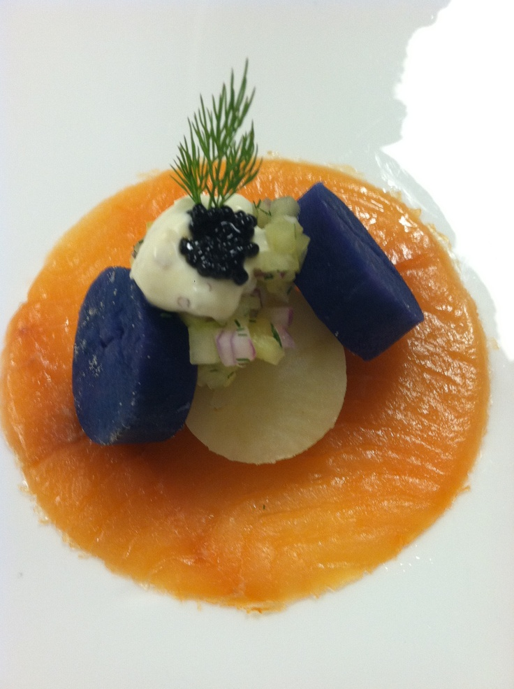 Smoked Salmon Carpaccio Yukon and Peruvian potato, cucumber, shallot ...