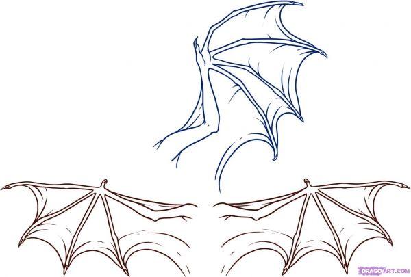 Как нарисовать крылья драконами