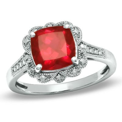 cushion cut lab created ruby vintage style ring in. Black Bedroom Furniture Sets. Home Design Ideas