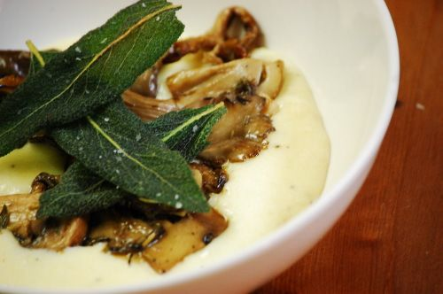 Creamy Polenta with Sage and Roasted Wild Mushrooms