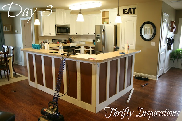 Board and batten the island for the home pinterest for Caulking kitchen cabinets
