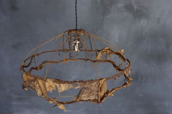 Large Antique Victorian Silk Lamp Shade Frame. by abrshop on Etsy