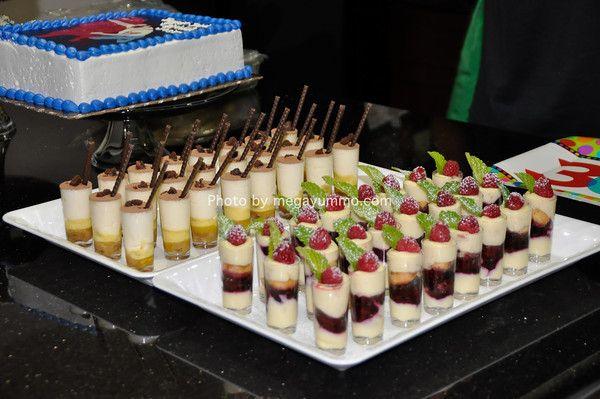 Dessert in shot glasses (tiramisu, strawberry shortcake, banana ...
