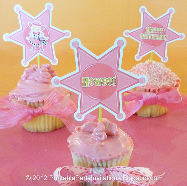 Free printable cowgirl sheriff's badge cupcake toppers with matching invitations