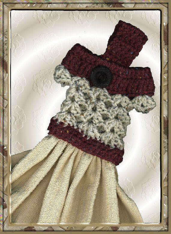 Crochet Patterns Kitchen Towel Toppers : Kitchen Towel Crochet Dress Topper Pattern by DesignsByRhonda, $3.00