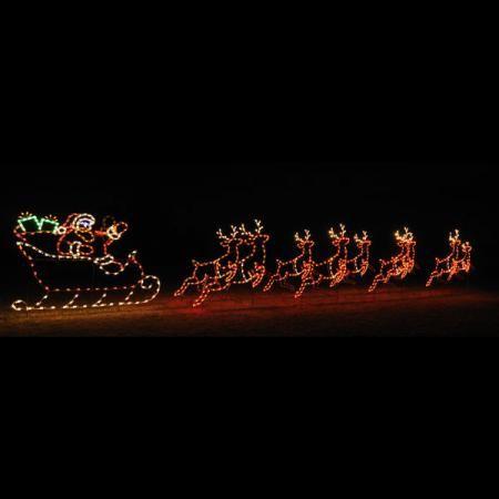 Animated c7 led light display 42 ft w santa sleigh and 9 reindeer