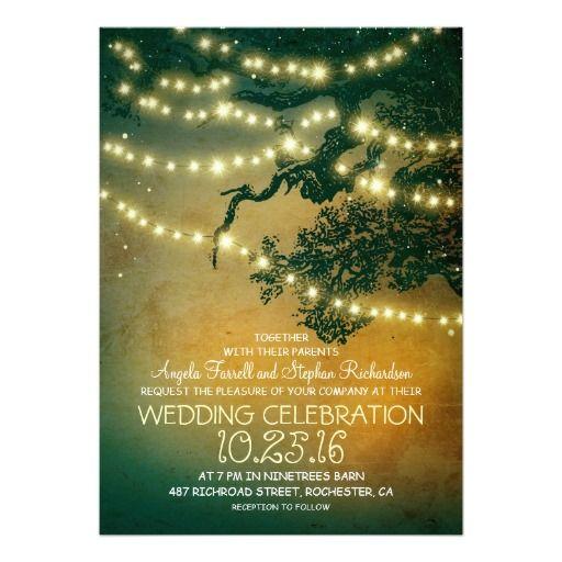 String Lights Tree Rustic Wedding Invitation : Rustic tree branches & string lights wedding