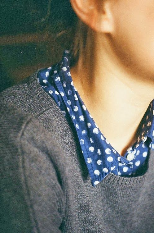 Navy Polka Dots Shirt With Sweater