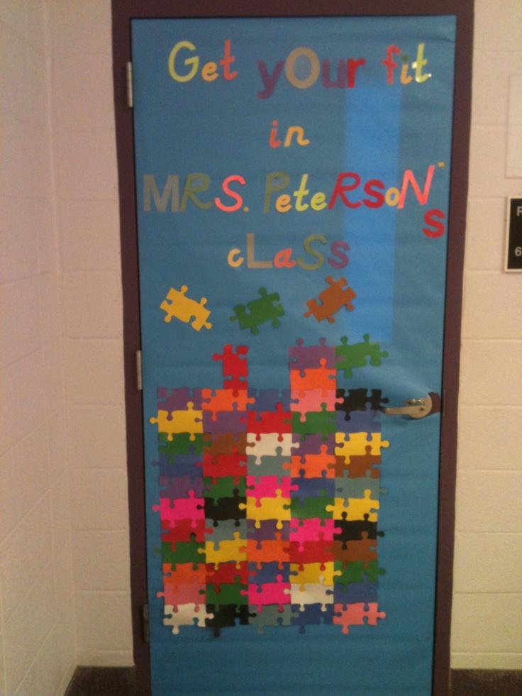 Door decor  Junior high classroom door decorated for the first day of school.