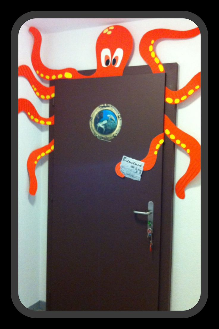 This octopus is too cute a little submarine door for an for Bathroom door decor