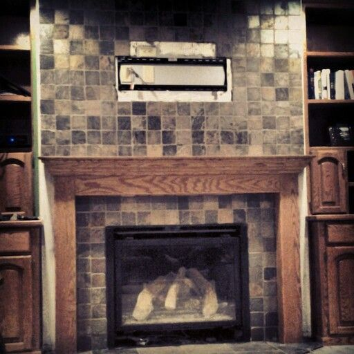 Diy Slate Fireplace Oak Mantel Some Day One Day Pinterest