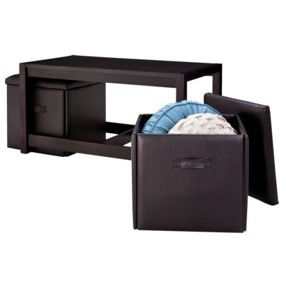 Coffee Table with 2 Tuck Away Folding Storage Ottomans - Espresso ...