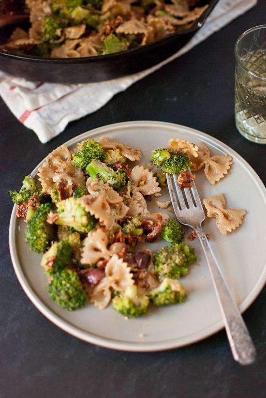 Broccoli, sun-dried tomato, and goat cheese pasta