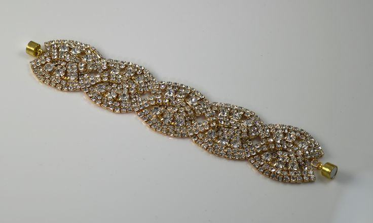 Chambre Rose Gold : , light gold and crystal bracelet cuff. Appears ...