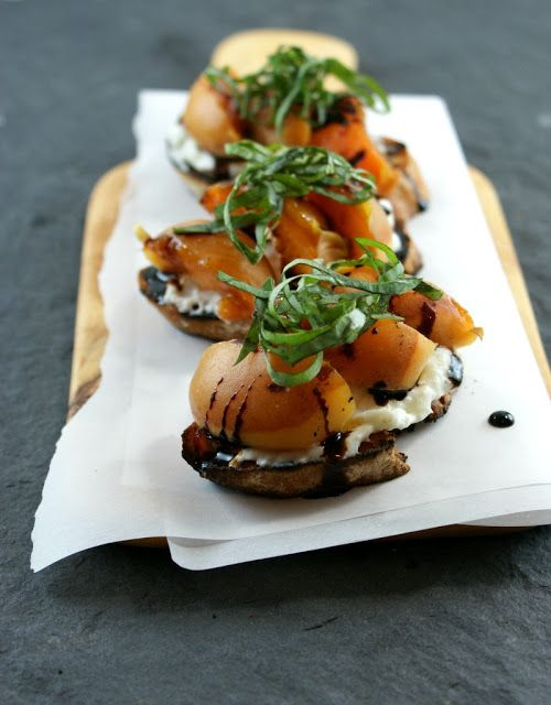 Grilled Apricot Crostinis #appetizer | Appetizers | Pinterest