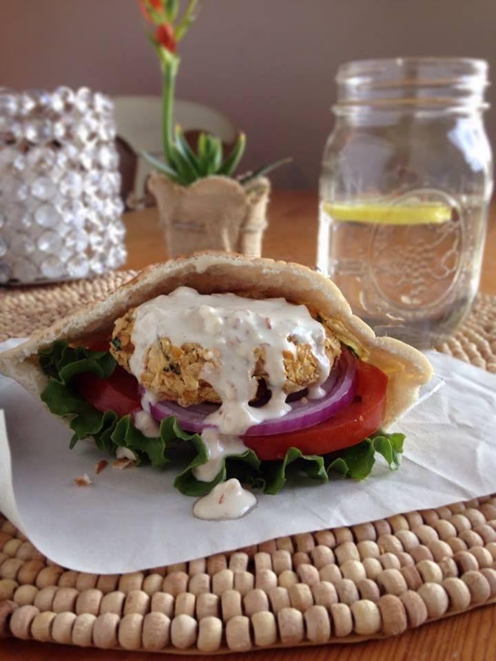 Vegan Apple & Chickpea Burgers with Tahini Sauce