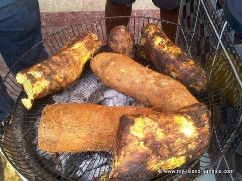 Steamy, crunchy Jamaican roasted yam with 'salt fish'!