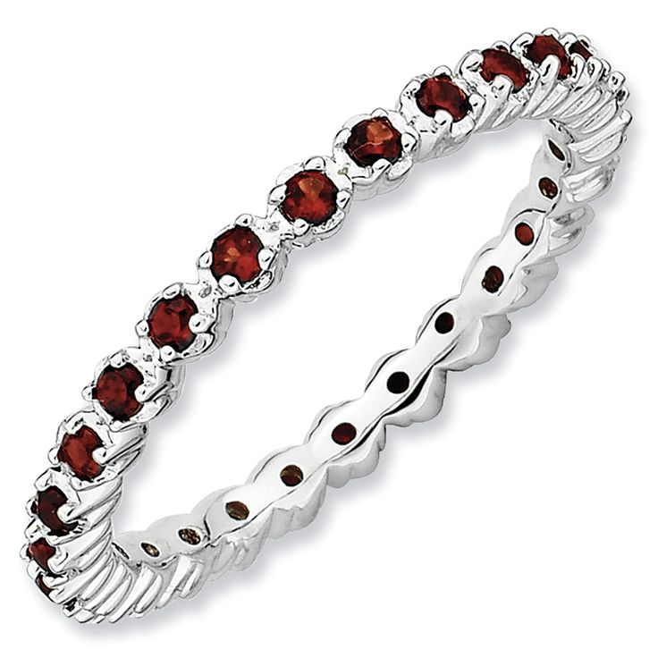 Stackable Expressions Prong Set Garnet Eternity Style Ring in Sterli…