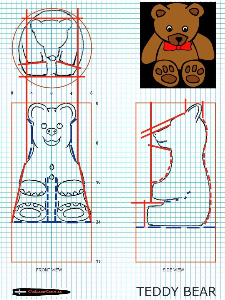 Chainsaw carving patterns free teddy bear