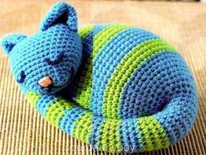 Free Crochet Cat Doorstop Patterns : Crochet Pattern ~ SLEEPY FELINE ~ PUSSY CAT DOOR STOP ...